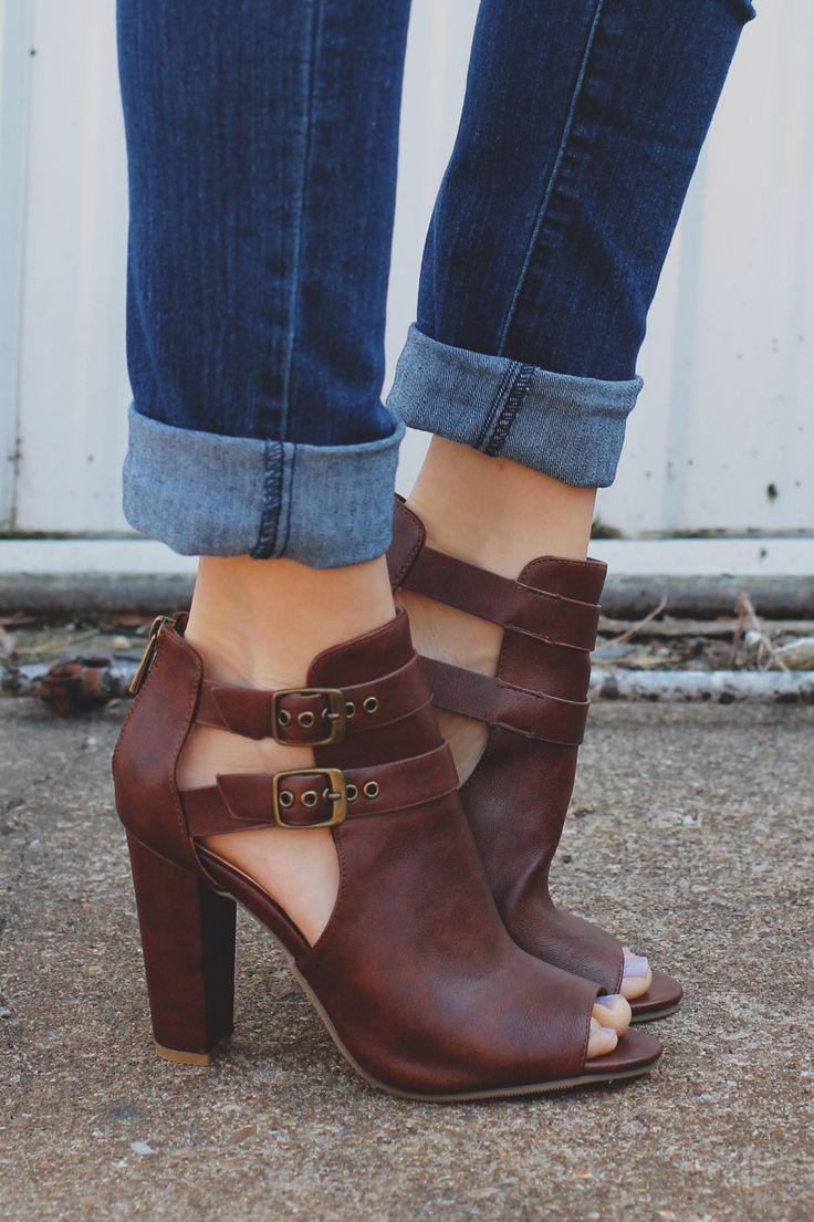Faux Leather Cutout Shaft Peep Toe Heels