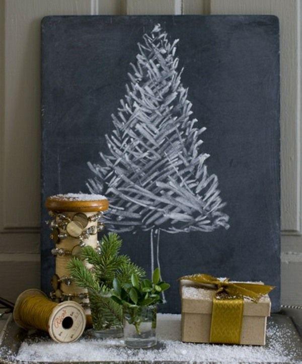 schwarze Tafel Weihnachtsbaum zeichnen schöne Bastelidee