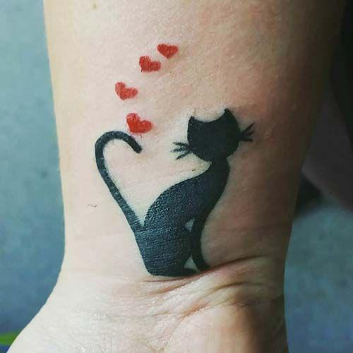 sevimli kedi bilek dövmeleri bayancute cat wrist tattoos for women