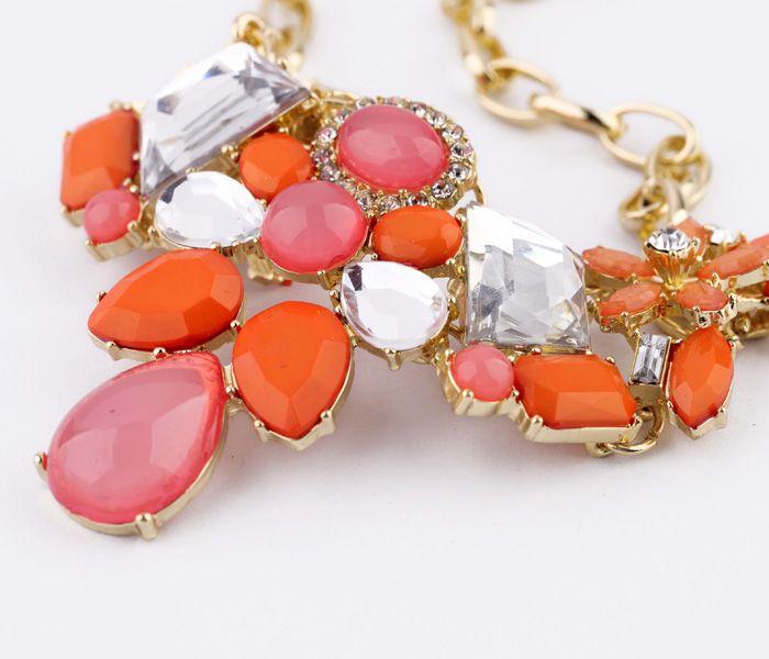 Stylish Orange Red Pendant Necklace  - New In