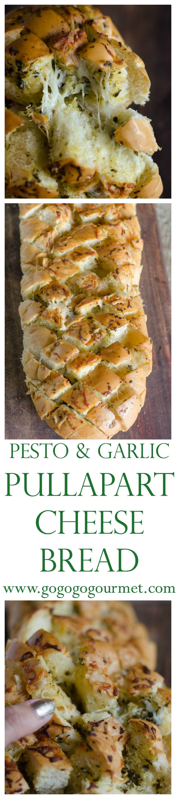 Bread+Butter+Garlic+Cheese > anything ever. Everyone loves this! Pesto Garlic Pull-Apart Cheese Bread | Go Go Go Gourmet