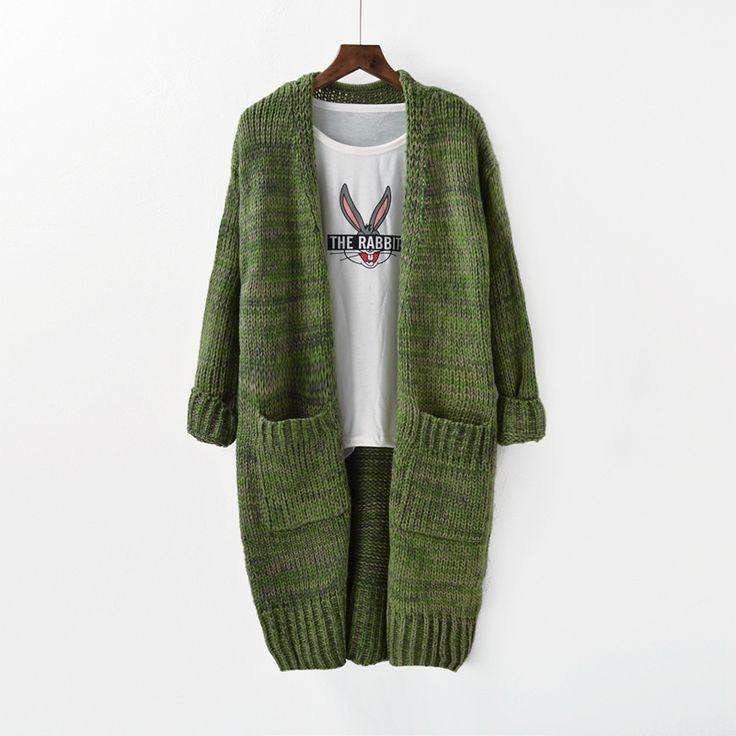 2017 весной Корейский длинный свитер женский осень свободный большой размер женщин карман пальто кардиган женский - Taobao