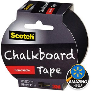 """Scotch Chalkboard Tape, 1.88"""" x 5 yd, Black.. love - love this product.. and you can peel it off and move it if you need to place it some where else.. wow!!!"""
