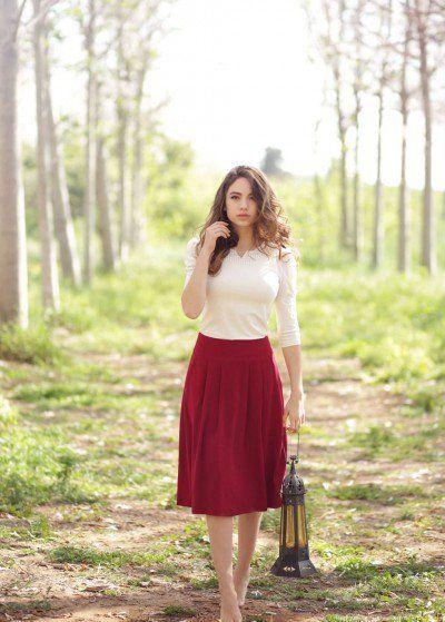 Bordeaux Almond Skirt