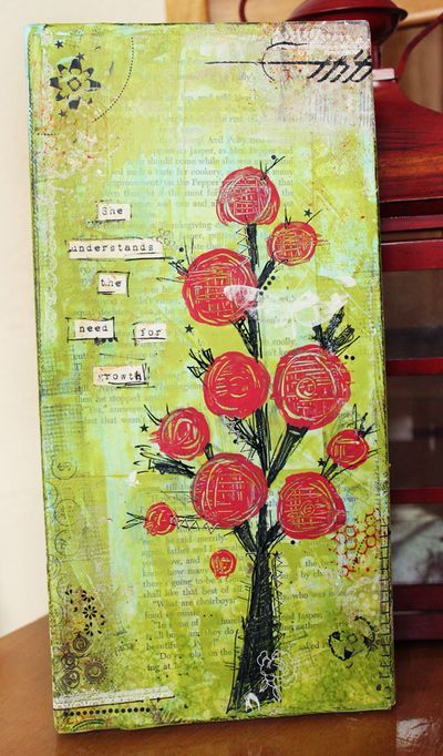 floral tree: Art Journals Mixed, Floral Trees, Journals Mixed Media, Trees Canvas, Media Art, Rose Trees, Mixed Media Painting, Mixed Media Christmas Trees, Art Projects