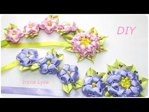 Літня стрічка для волосся/Летняя лента в косу своими руками/satin ribbon flowers tutorial - YouTube