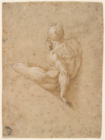 Copy after Michelangelo Buonarroti - Seated Male Nude, Drawing, 16th century Italian.