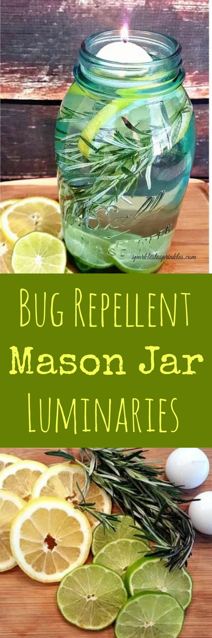DIY Bug Repellent Mason Jar Luminaries are both gorgeous and extremely effective. An amazing mix of essential oils to keep those bugs away! Pin for Later! #diy #essentialoils #summer