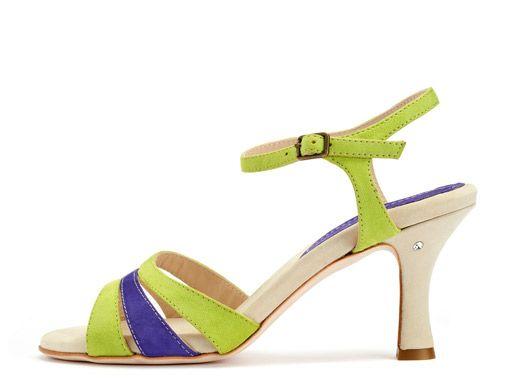 Madame Pivot Shop    Rallies in Camoscio verde e viola. Women tango shoes