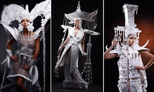 Mongolian artist creates wedding dresses made entirely out of PAPER