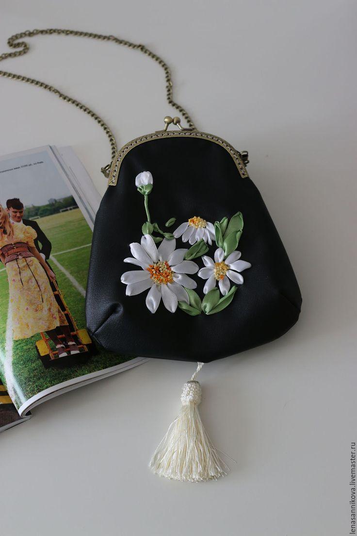"""Купить Сумка с фермуаром """"Полевые ромашки"""" - черный, цветочный, купить сумку, купить кожаную сумку"""