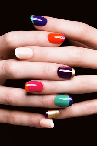 French nails with a punch of color for summer