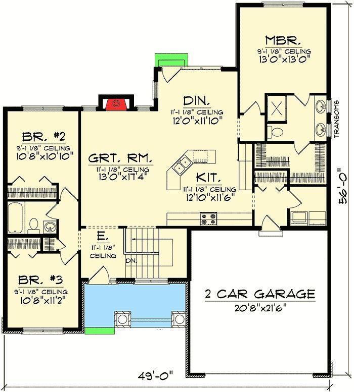 Craftsman Ranch Home Plan - 89655AH | 1st Floor Master Suite, CAD Available, Craftsman, Northwest, PDF, Split Bedrooms | Architectural Designs