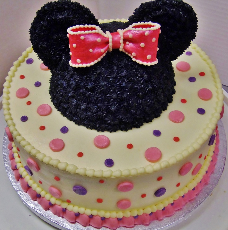 Minnie Mouse in 2-layer cake design in all buttercream w/ gumpaste bow ...