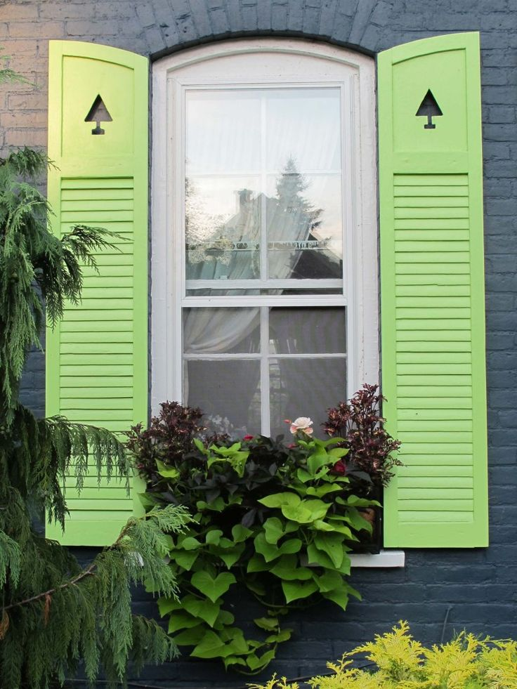Green, gray and black: Vines Window, Mint Green, Green Shutters, Windowbox 768X1024, 768X1024 Gardens, Brick, Excel Windowbox, Front Window, Window Boxes