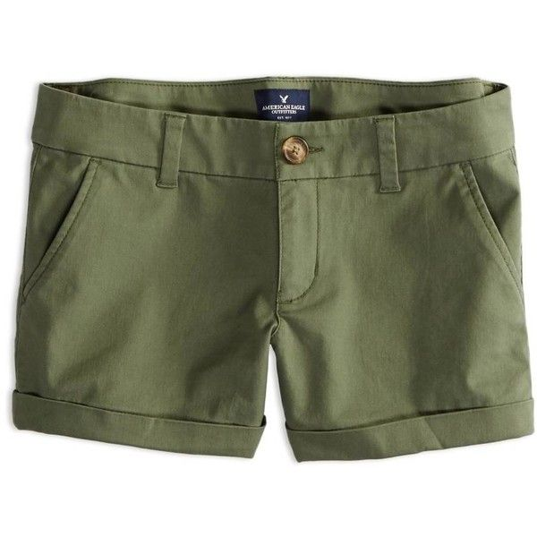 American Eagle Factory Midi Shorts ($20) ❤ liked on Polyvore featuring shorts, bottoms, olive green, american eagle outfitters shorts, olive green shorts, olive shorts, midi shorts and cuffed shorts
