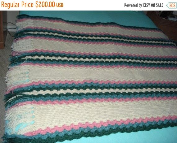 ON SALE TODAY - Ready to be shipped Today, Handmade Crochet Pastel Color Afghan Throw Over-Blanket by ufer on Etsy