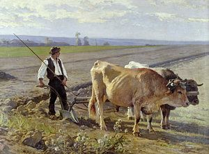 Oil Painting - The Furrow by Edouard Debat-Ponsan