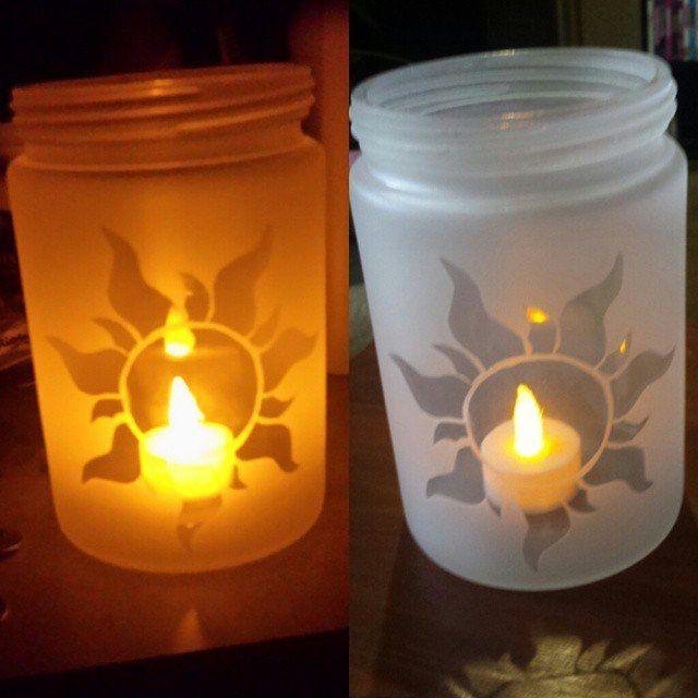 "I made ""lantern"" jars from Tangled! : disney"