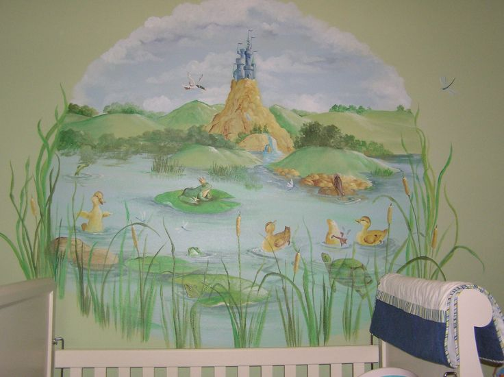 Duck Pond Nursery Wall Mural #nurserymural