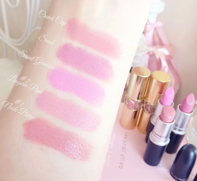 Favourite Five Pink Lipstick Swatches | MAC Creme Cup, Saint Germain, Snob & YSL Lingerie Pink, Nude Beige