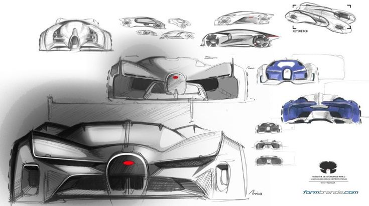 Sketches of the Bugatti Typ A concept by Nico Pressler