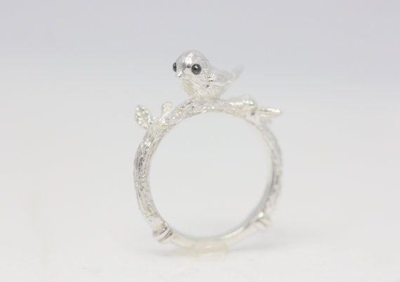 Poco anillo de plata anillo del pájaro anillo del por TedandMag