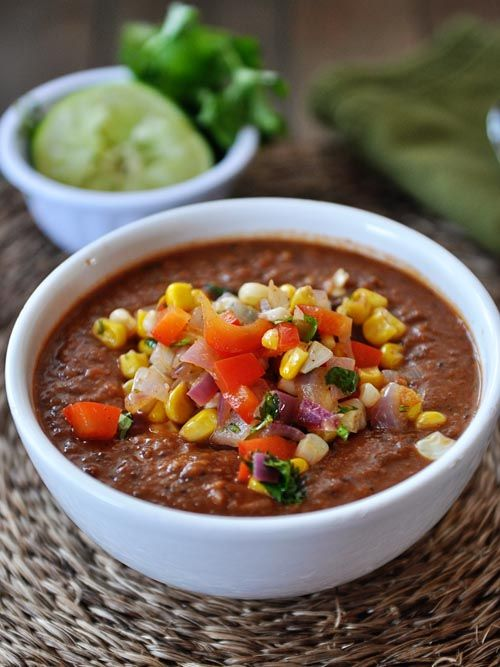 Fire-Roasted Tomato and Black Bean Soup with Fresh Corn Salsa - My Kitchen Cafe