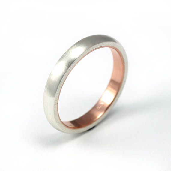 Womens Silver And Rose Gold Wedding Band