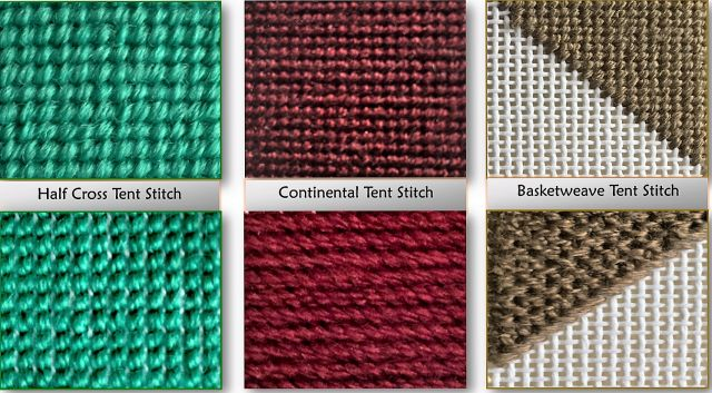 Tent stitch reference guide, stitch diagrams & everything you need to know to work basic Half Cross, Continental and Basketweave Tent Needlepoint Stitches.