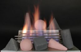 fire shapes in red and black for ventless gas log fireplace with stainless burner