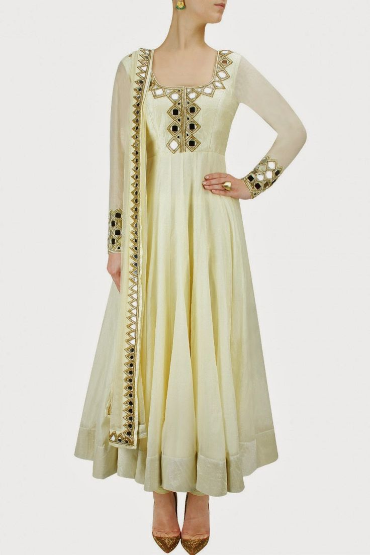 raw silk mirror work salwar kameez - Google Search