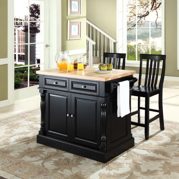 Butcher Block Top Kitchen Island in Black Finish with 24