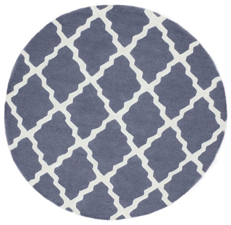 Nuloom Rugs Blue Grey Hand Hooked Marrakech Trellis 100 Wool Contem 6 Round