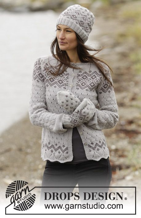 "Knitted DROPS jacket with lace pattern, Nordic pattern and raglan in ""Lima"". Size: S - XXXL. ~ DROPS Design"