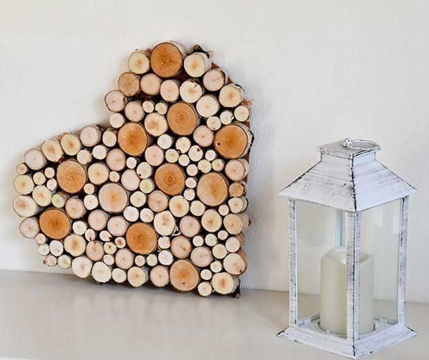 Deko Herz aus Holzscheiben selbstmachen