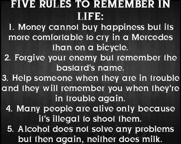 Rules to live by | Funny stuff!!! | Funny, Funny Quotes, Lol | 720 x 571 jpeg 186kB