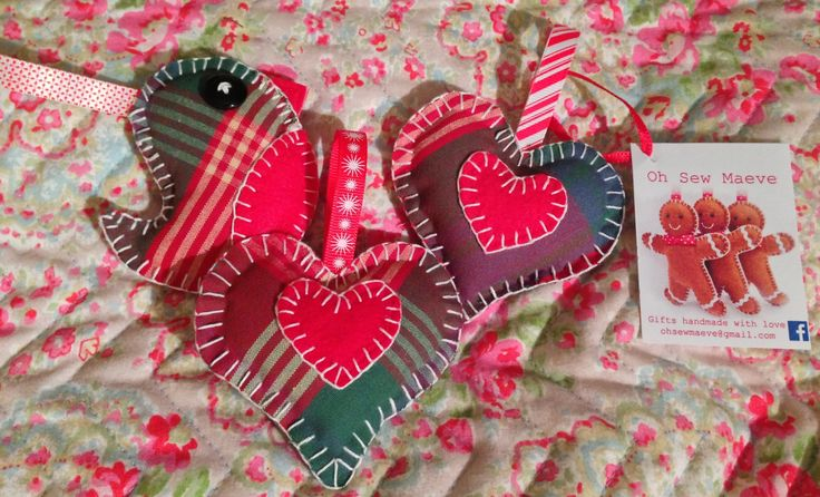 Tartan robin and heart tree decorations  https://www.facebook.com/pages/Oh-Sew-Maeve/1410531509175788?ref=hl