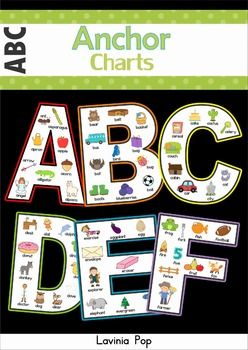 "This unit contains 3 sets of alphabet anchor charts: black and white version, colored version with background and colored version with a chalkboard background. I have included additional charts for the each long vowel sound and soft ""C"" and ""G""."