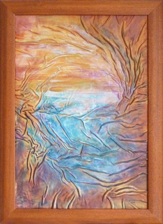 Lake Painting Sunset Painting Original Abstract by AnnaKisArt  #abstract, #leatherpainting, #landscape, #leathergift, #lakepainting, #sunsetpainting, #christmasgift, #homedecor, #giftforhome, #bluepainting, #wallart, #treepainting, #weddinggift, #anniversarygift,