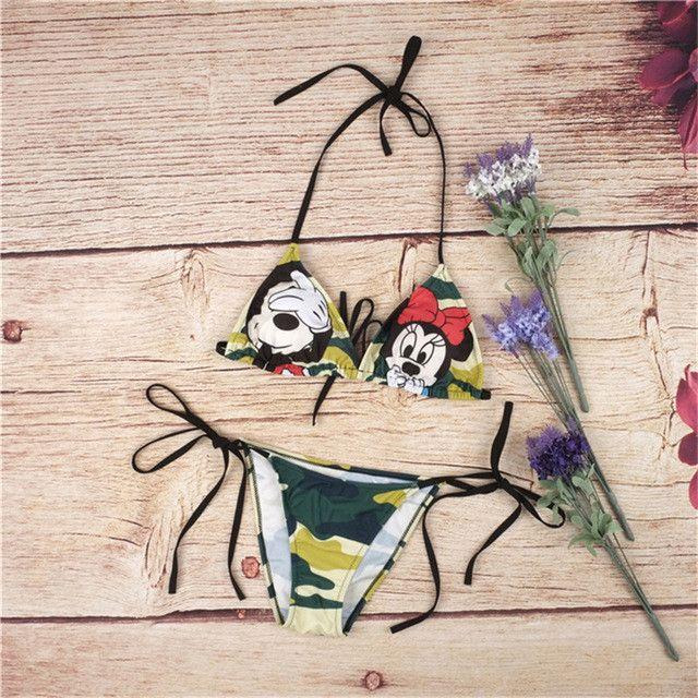 Sexy Mickey Minnie Mouse camo bikini 2 piece swimsuit set