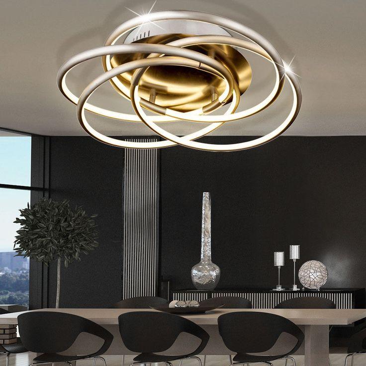 40 Watt LED Decken Leuchte Alu Beleuchtung Dimmbar Wohn Ess Zimmer Ringe Lampe In Mbel