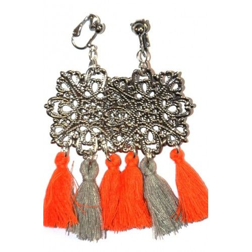 BOUCLES OREILLES CLIPS OU PERCEES ORANGES