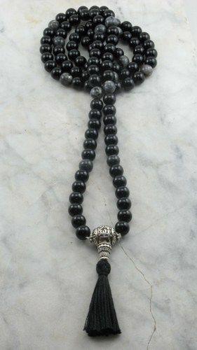 OM Mala Black Agate and Fossil Agate Mala Beads Buddhist Prayer Beads, 108 Mala Beads, Grounding, Balance, Oneness, Free