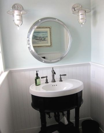 Port Hole Mirror And Rainwashed Sherwin Williams Paint Color On Bathroom Walls