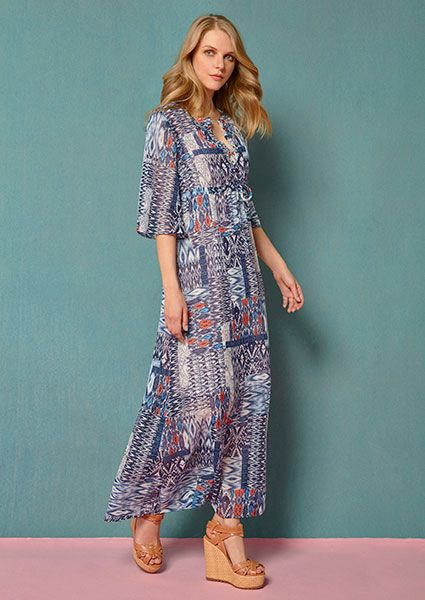 the bohemian style through a long,printed dress in blue tones!! follow us on :http://www.aliki-victoria.gr/gr/