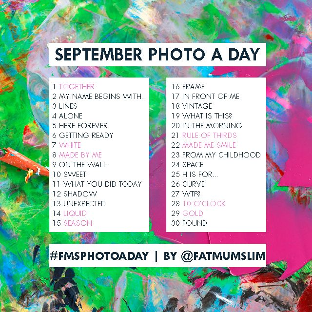 September Photo A Day: The challenge list created by the community