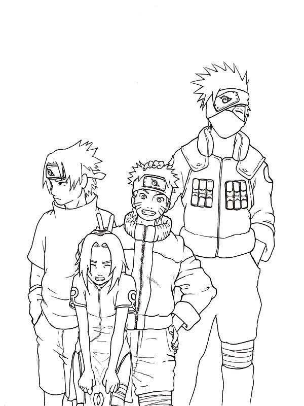 Coloring Sasuke Naruto Sakura and Kakashi Coloring Page Naru with ...