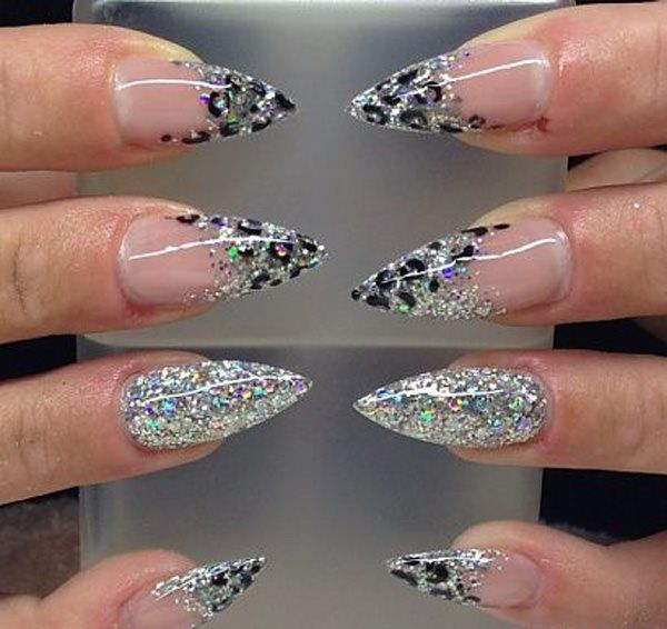 Silver And Black Stiletto Nails