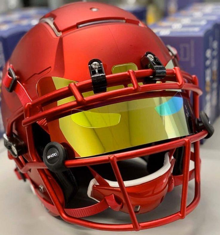 Custom iron man marvel shoc football visor on a schutt f7